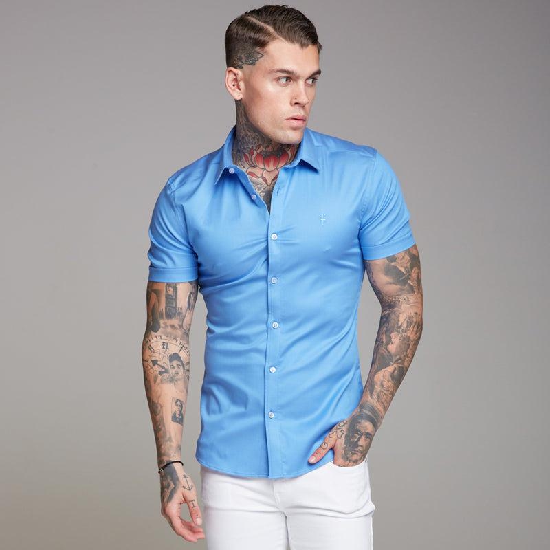 Father Sons Super Slim Luxe Ultra Stretch Light Blue Short Sleeve -  FS351