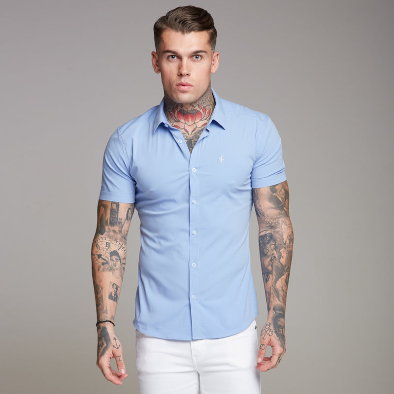Father Sons Super Slim Ultra Stretch Classic Light Blue Short Sleeve Shirt - FS357