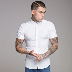 Father Sons Super Slim Ultra Stretch Classic White Short Sleeve Shirt (Grey embroidery) - FS353