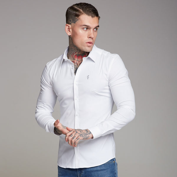 Father Sons Super Slim Ultra Stretch Classic White Shirt (Grey embroidery) - FS352
