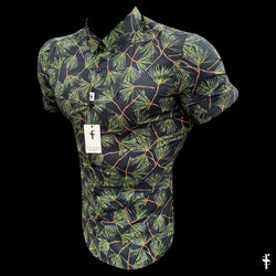 Father Sons Super Slim Stretch Black Base With Palm Tree Print Short Sleeve Button Down - FS586