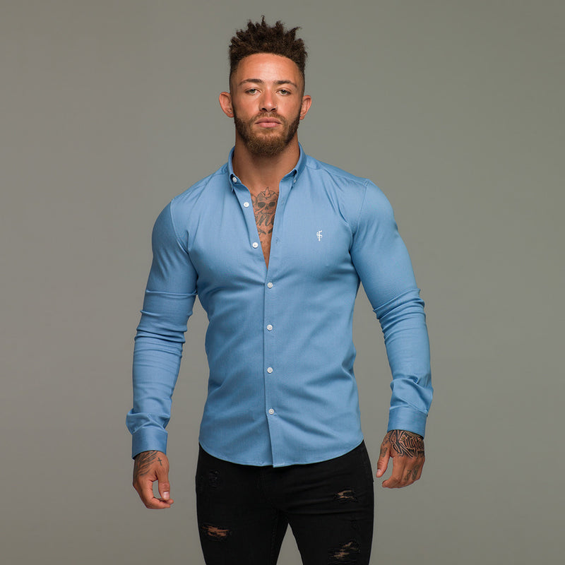 Father Sons Super Slim Stretch Light Blue Denim Long Sleeve - FS208