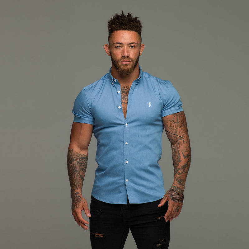 Father Sons Super Slim Stretch Light Blue Denim Short Sleeve - FS200