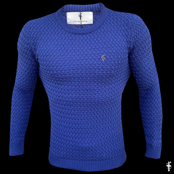 Father Sons Blue Knitted Weave Super Slim Jumper With Metal Decal - FSJ019