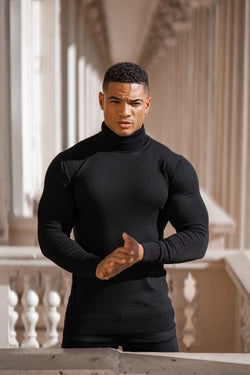 Father Sons Classic Black Roll Neck Knitted Jumper (Black Emblem) - FSH348