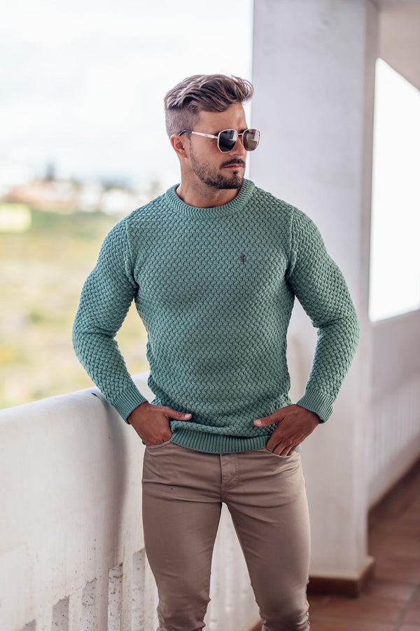 Father Sons Duck Egg Blue Knitted Weave Super Slim Jumper With Metal Decal - FSJ022