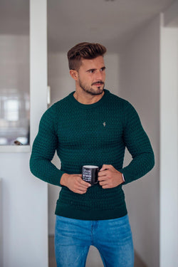 Father Sons Bottle Green Knitted Weave Super Slim Jumper With Metal Decal - FSJ015