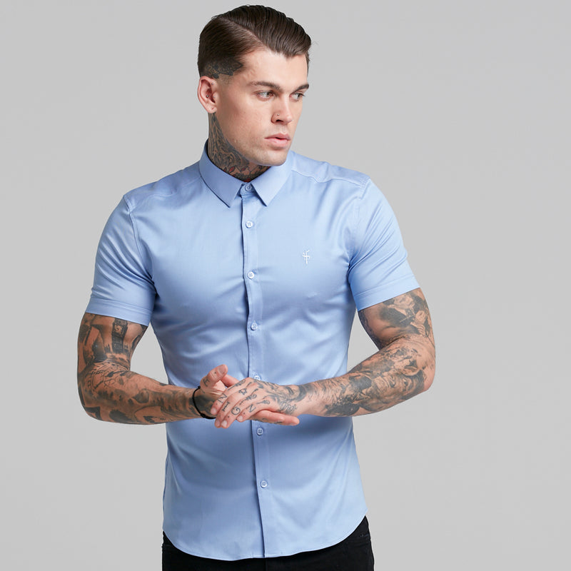 Father Sons Super Slim Luxe Ultra Stretch Cornflower Blue Short Sleeve -  FS386