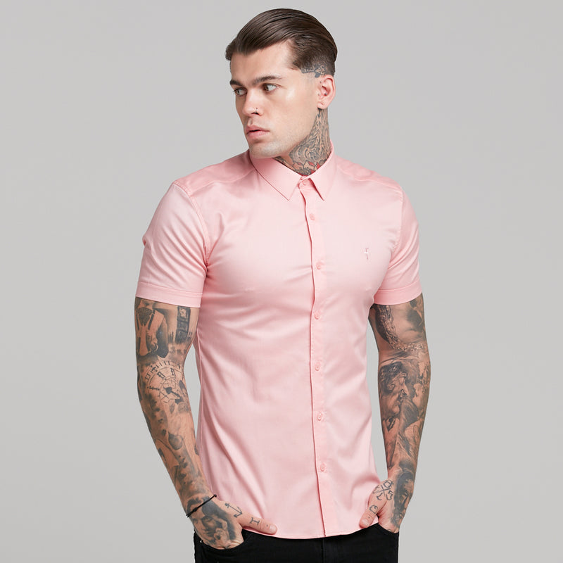 Father Sons Super Slim Luxe Ultra Stretch Pink Short Sleeve -  FS390