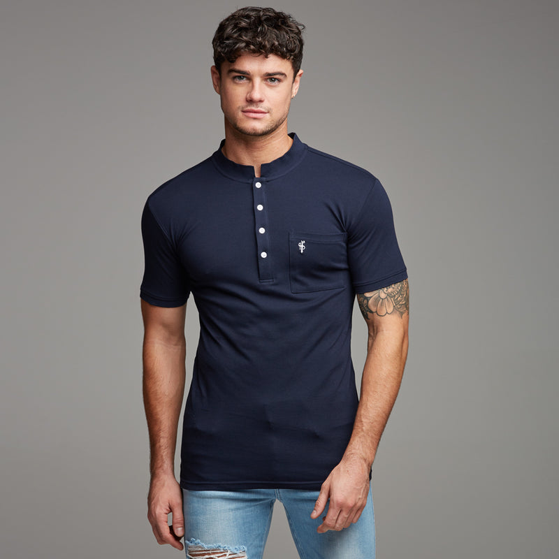 Father Sons Classic Navy Grandad Polo Shirt - FSH194