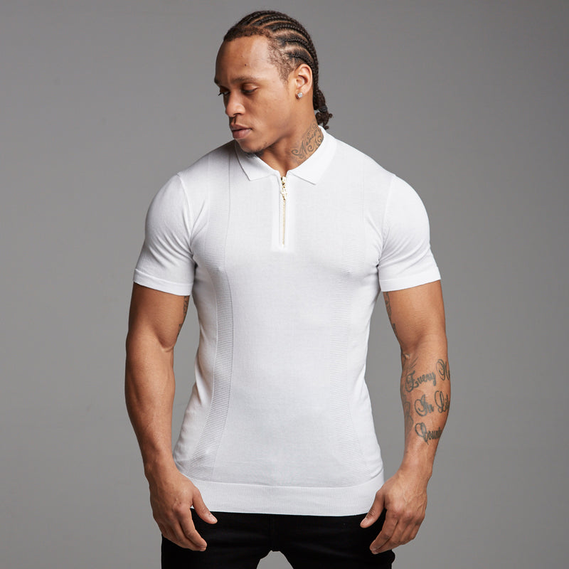 Father Sons Classic White and Gold Zip Knitted Short Sleeve Polo Shirt - FSH175