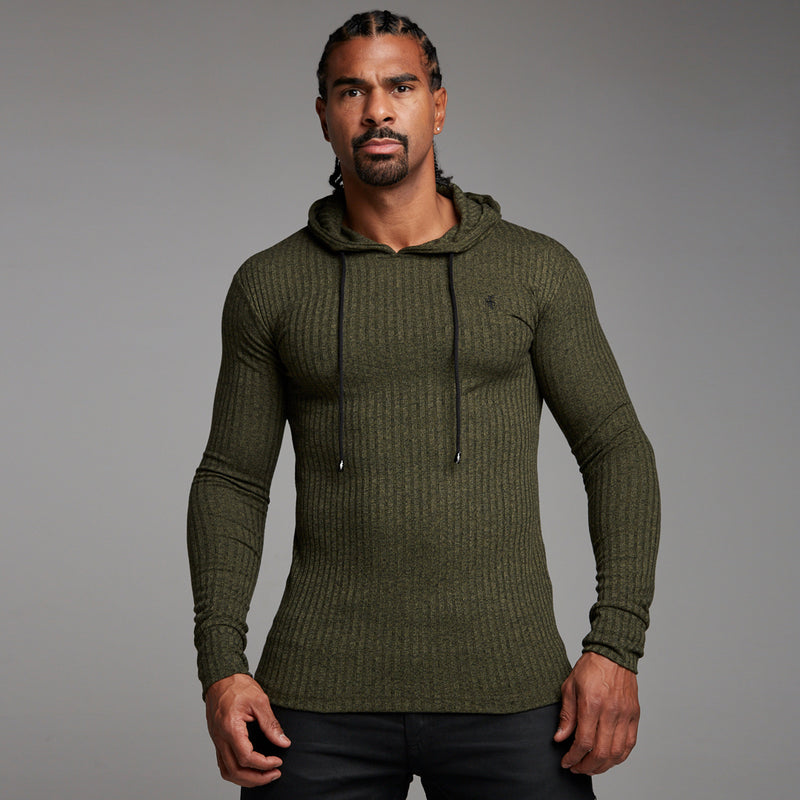 Father Sons Classic Khaki Ribbed Knit Hoodie Jumper - FSH221