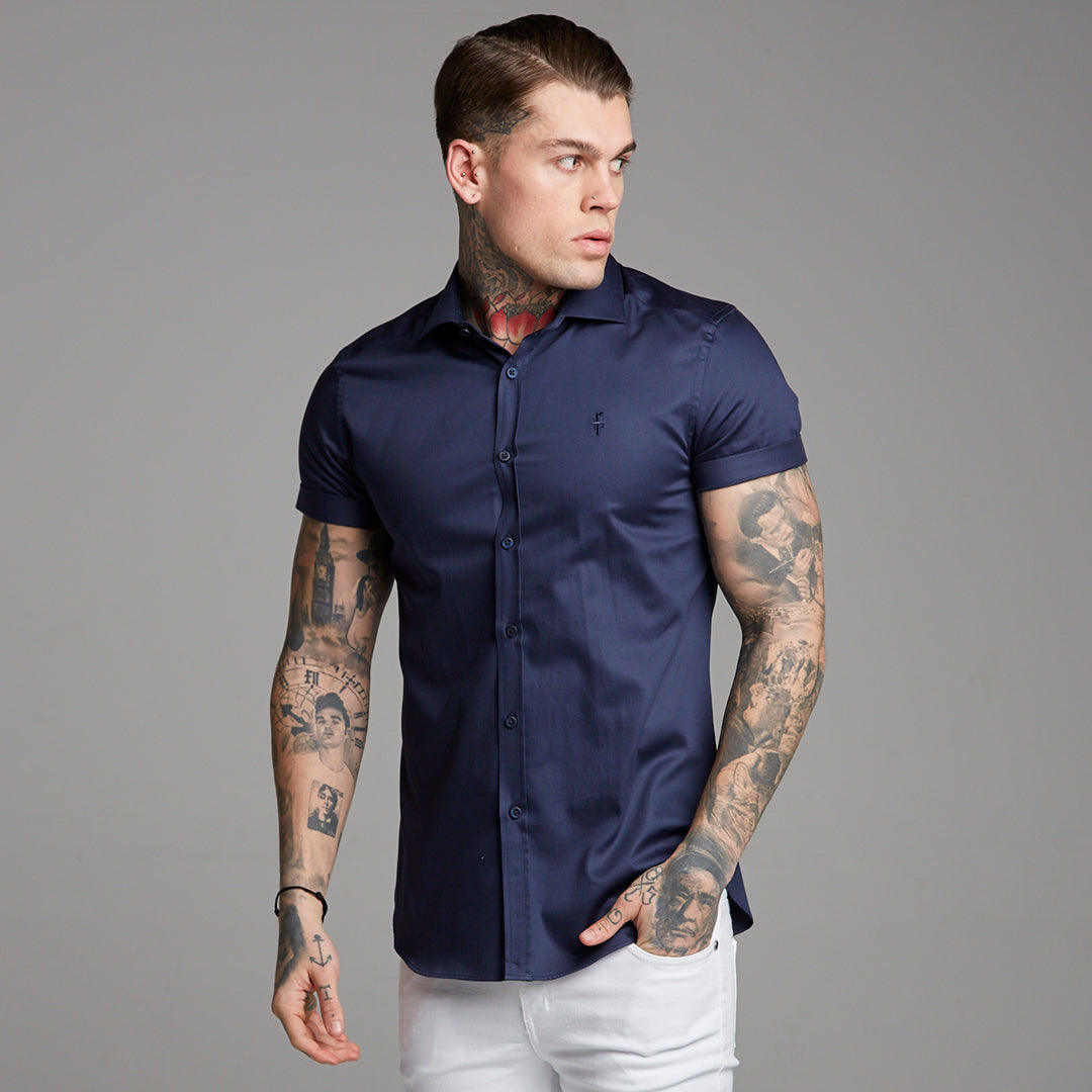 Father Sons Classic Navy Luxe Egyptian Cotton Short Sleeve - FS374