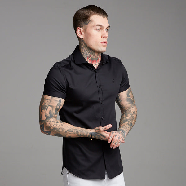 Father Sons Classic Black Luxe Egyptian Cotton Short Sleeve - FS378