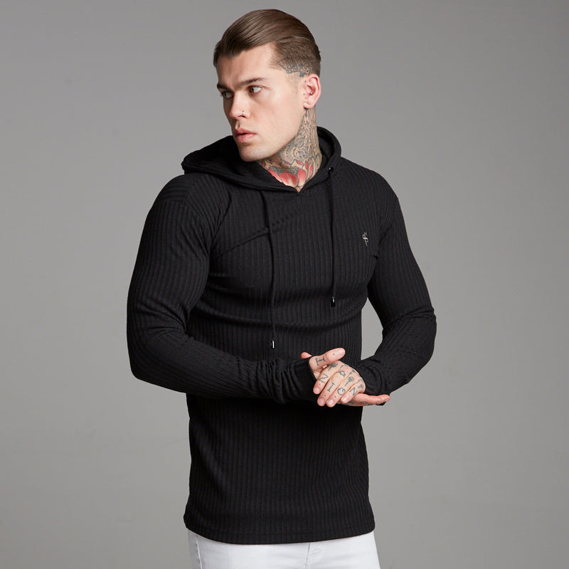 Father Sons Classic Black Ribbed Knit Hoodie Jumper - FSH218