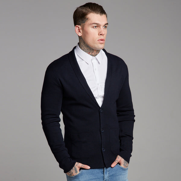 Father Sons Navy Knitted Cardigan - FSH153