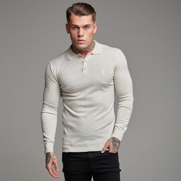 Father Sons Classic Beige Knitted Long Sleeve Polo Shirt - FSH176