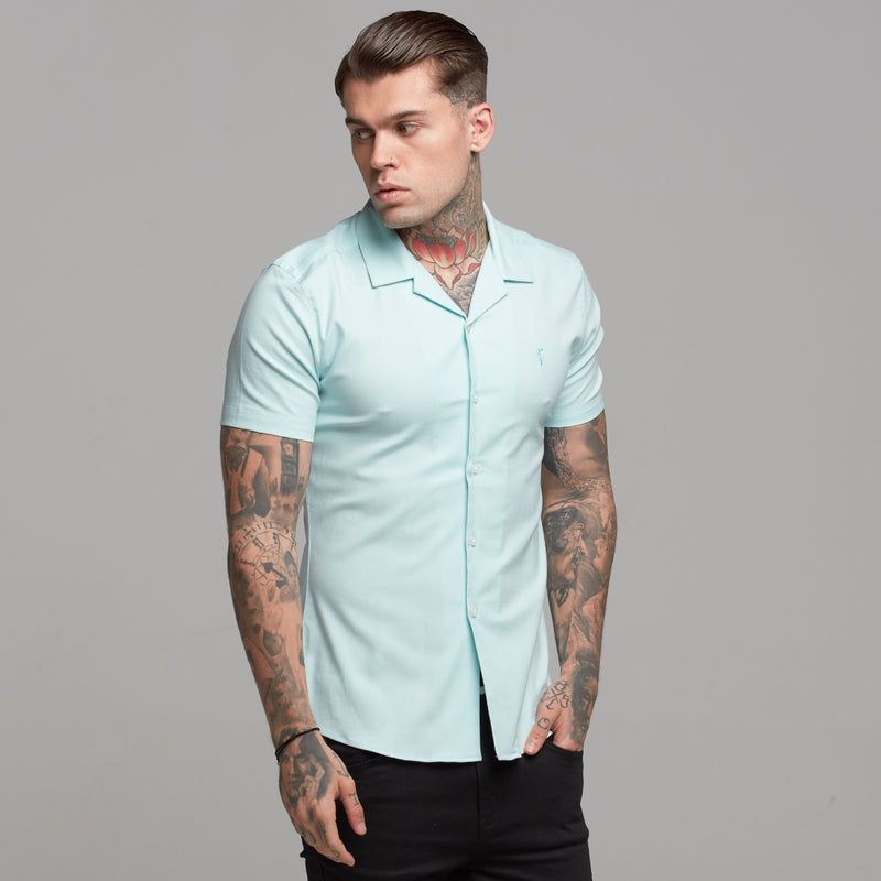 Father Sons Super Slim Stretch Revere Classic Mint Oxford Short Sleeve - FS421