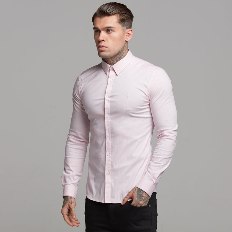 Father Sons Super Slim Stretch Long Sleeve White & Pink Stripe (White Emblem)  -  FS450