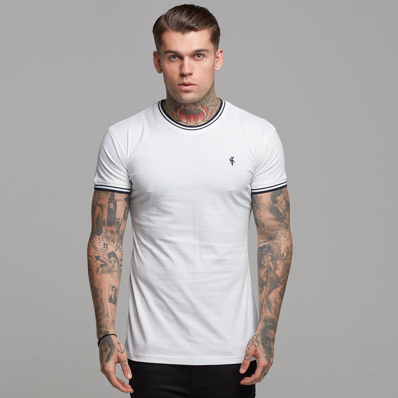 Father Sons White with Navy Contrast Crew - FSH264
