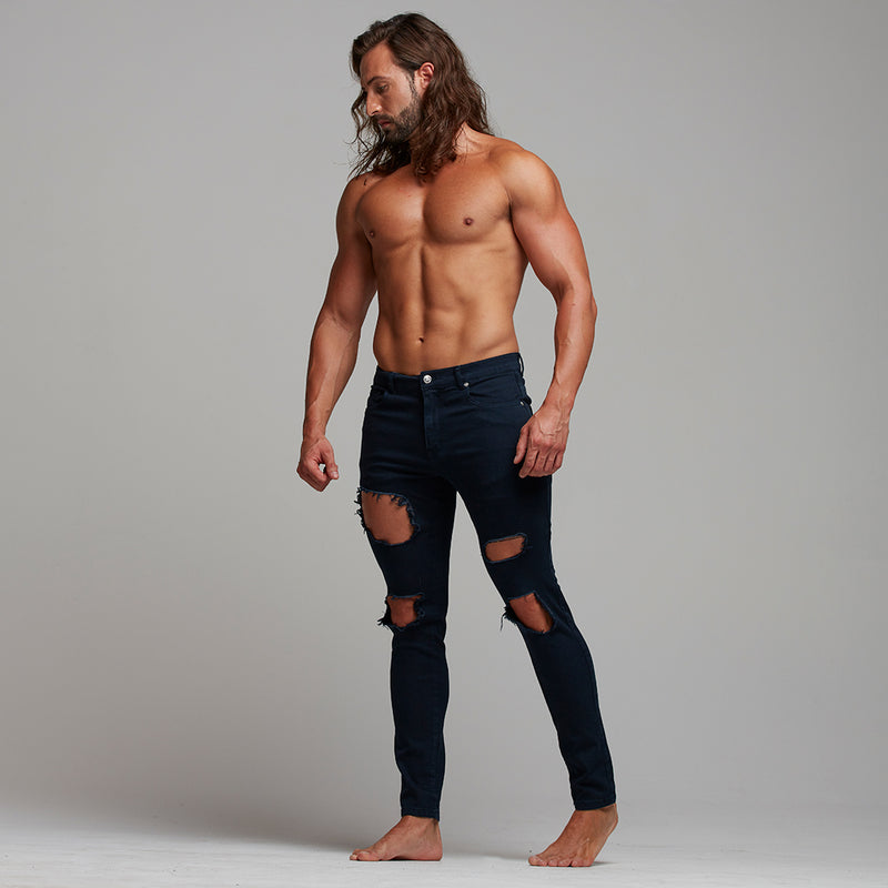 Father Sons Zipped Ankle Slim Ultra Stretch Navy Ripped Jeans - FSH290
