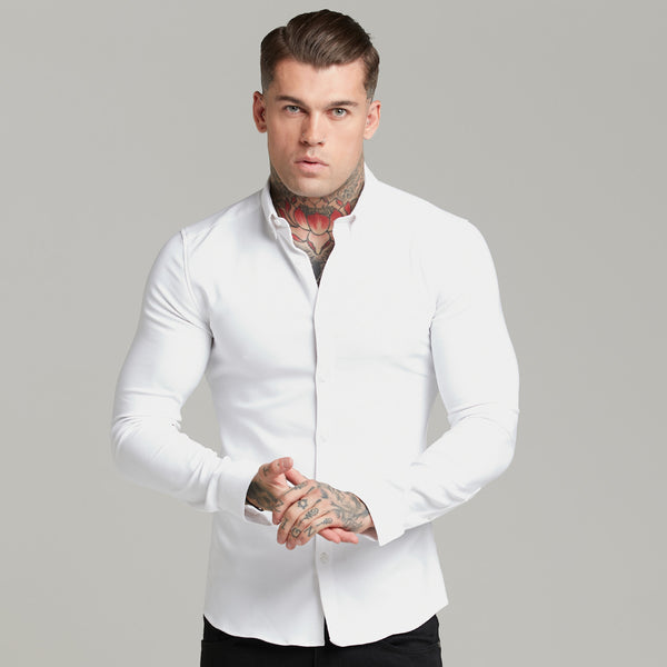 Father Sons Super Slim Scuba White Long Sleeve Stretch - FS613