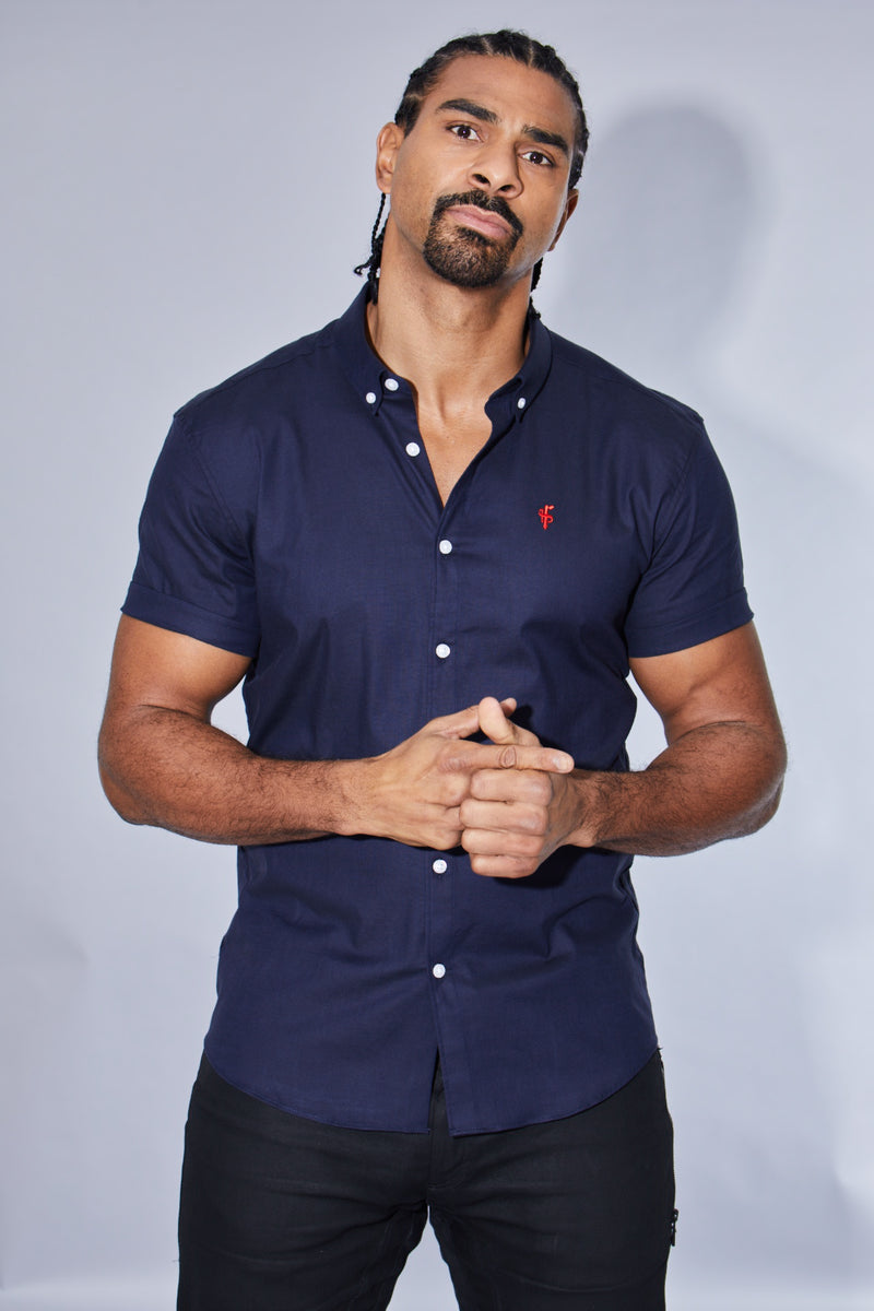 Father Sons Super Slim Stretch Classic Oxford Navy Short Sleeve (Red Emblem) - FS309