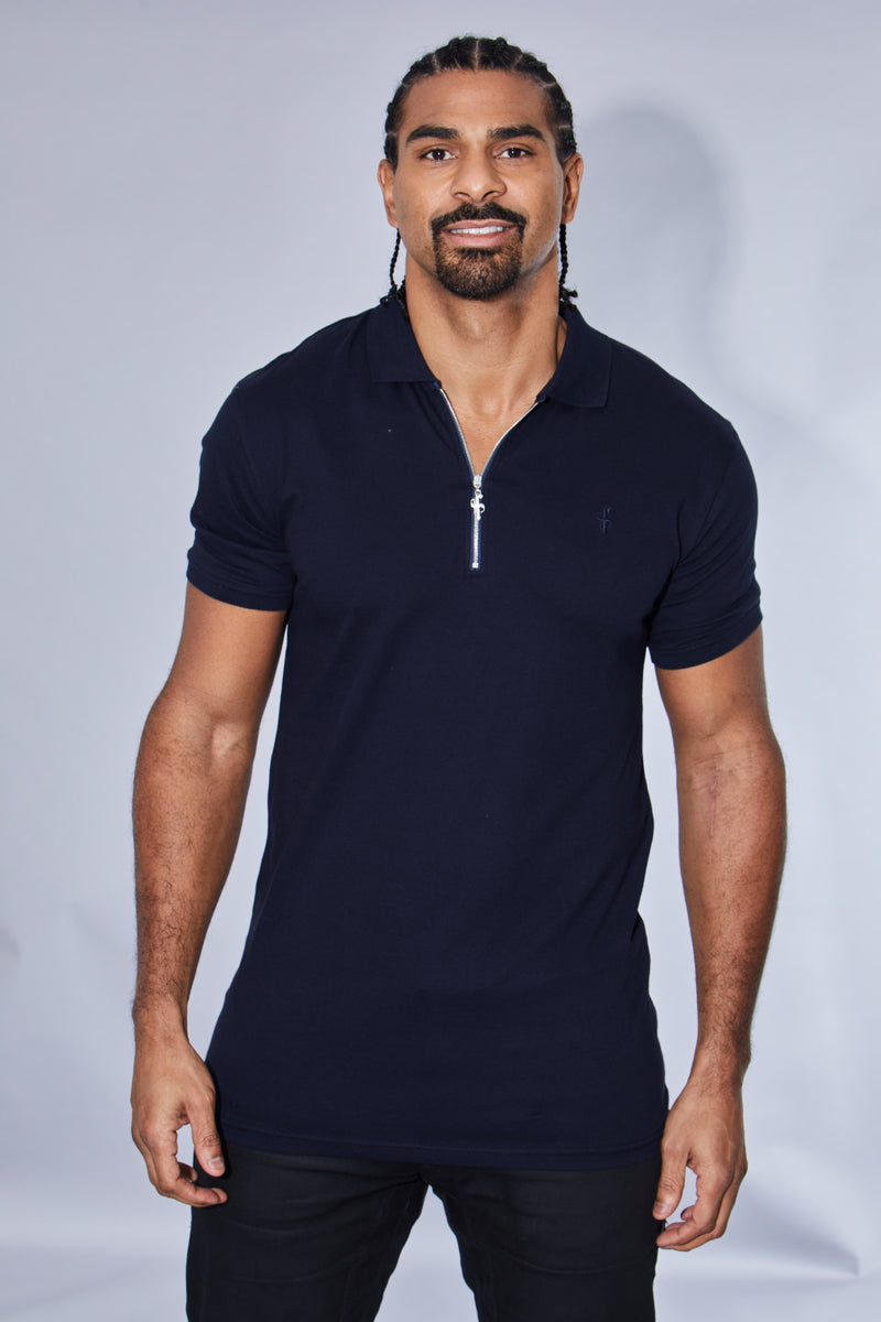 Father Sons Classic Navy Zipped Polo Shirt - FSH029