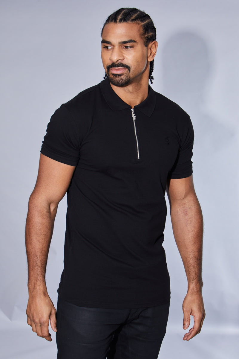 Father Sons Classic Black Zipped Polo Shirt - FSH030