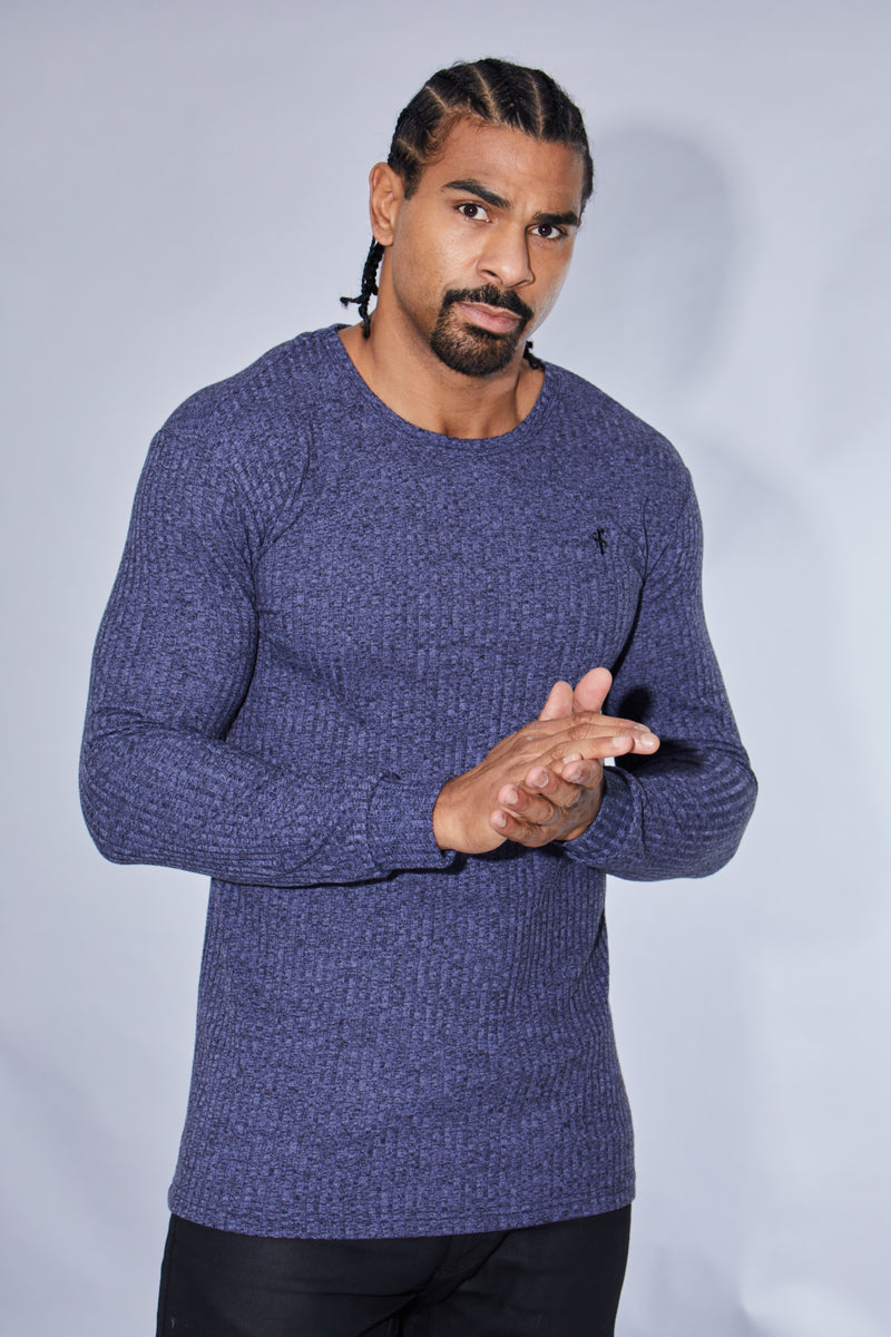 Father Sons Classic Navy Ribbed Knit Super Slim Crew - FSH114