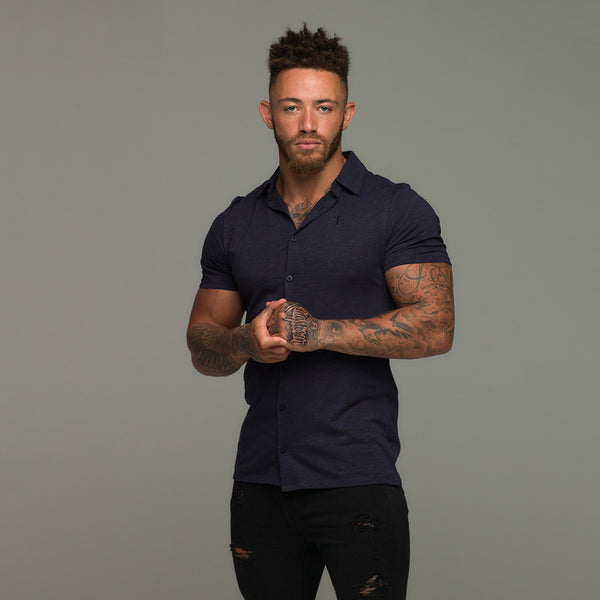 Father Sons Super Slim Navy Jersey Short Sleeve - FSH017