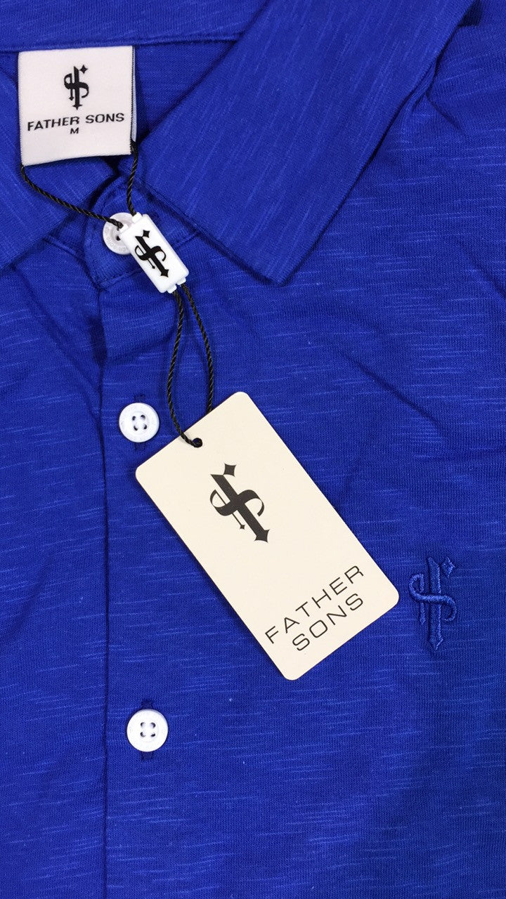 Father Sons Super Slim Royal Blue Jersey Short Sleeve - FSH013
