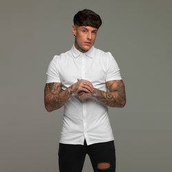 Father Sons Super Slim White Jersey Short Sleeve - FSH020