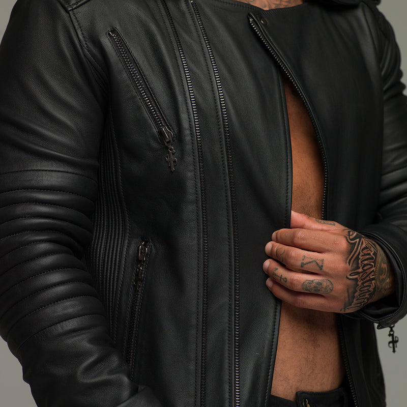 Father Sons Black Leather Jacket - FSH104