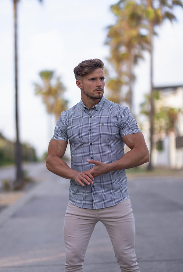 Father Sons Super Slim Stretch Prince Of Wales White and Khaki Print Check Short Sleeve - FS749