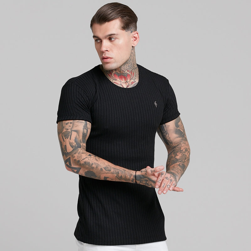Father Sons Classic Black Ribbed Knit Super Slim Short Sleeve Crew - FSH241