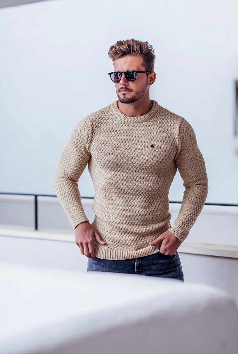 Father Sons Oatmeal Knitted Weave Super Slim Jumper With Metal Decal - FSJ020