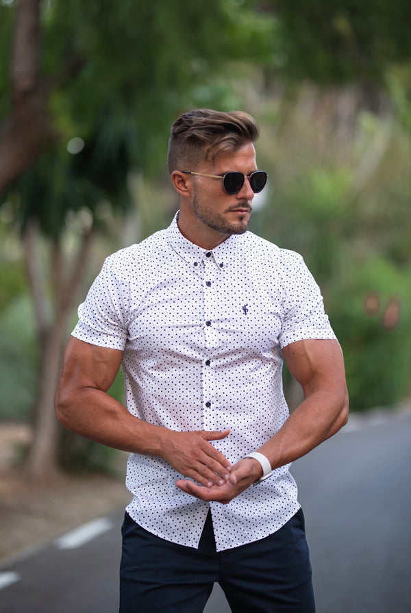 Father Sons Super Slim Stretch White & Navy Multi Square Print Short Sleeve - FS690
