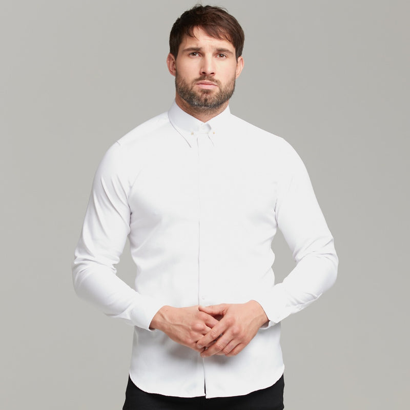 Father Sons Classic White Regular Stretch Shirt with Gold Pin Collar and White Embroidery - FS593