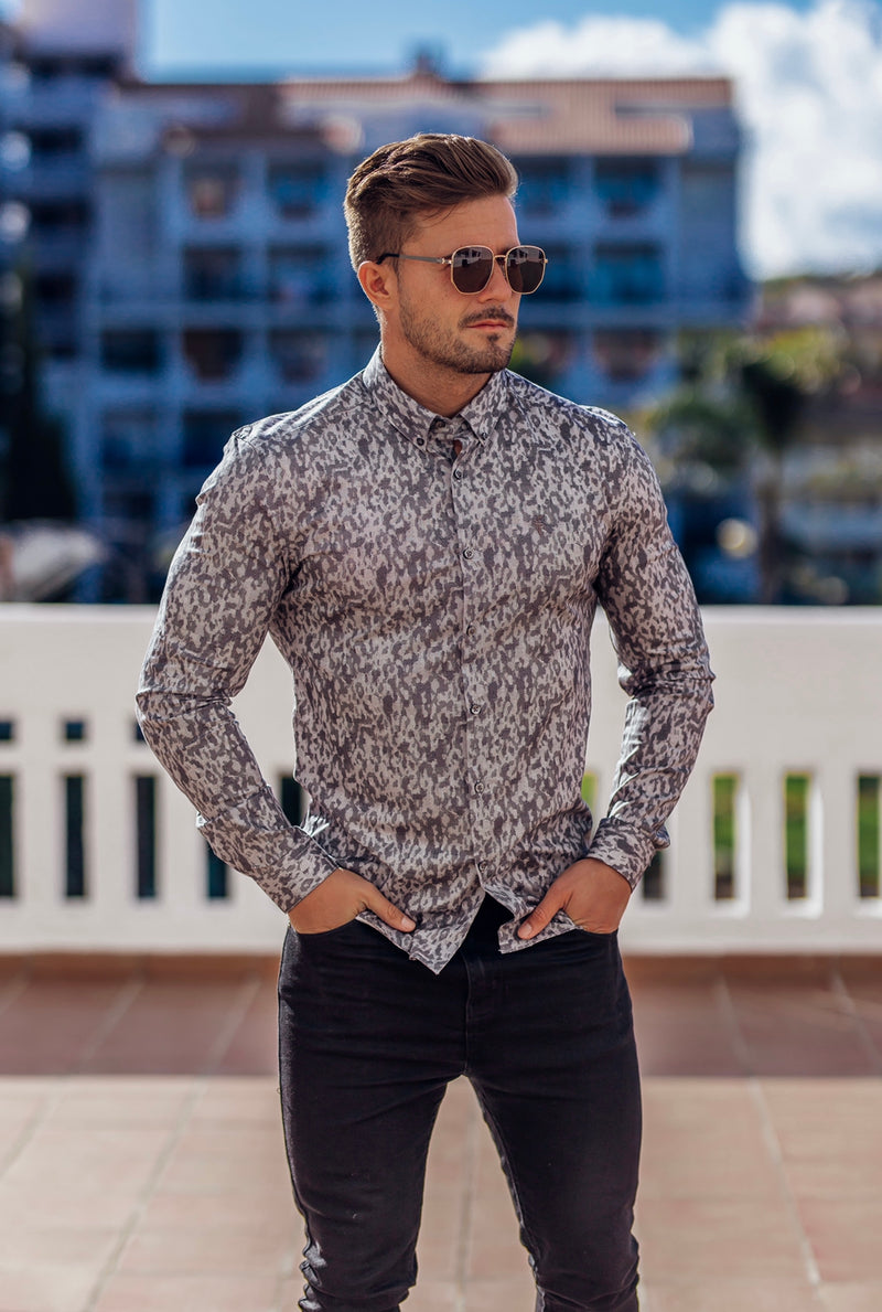 Father Sons Super Slim Stretch Charcoal Abstract Print Long Sleeve - FS676