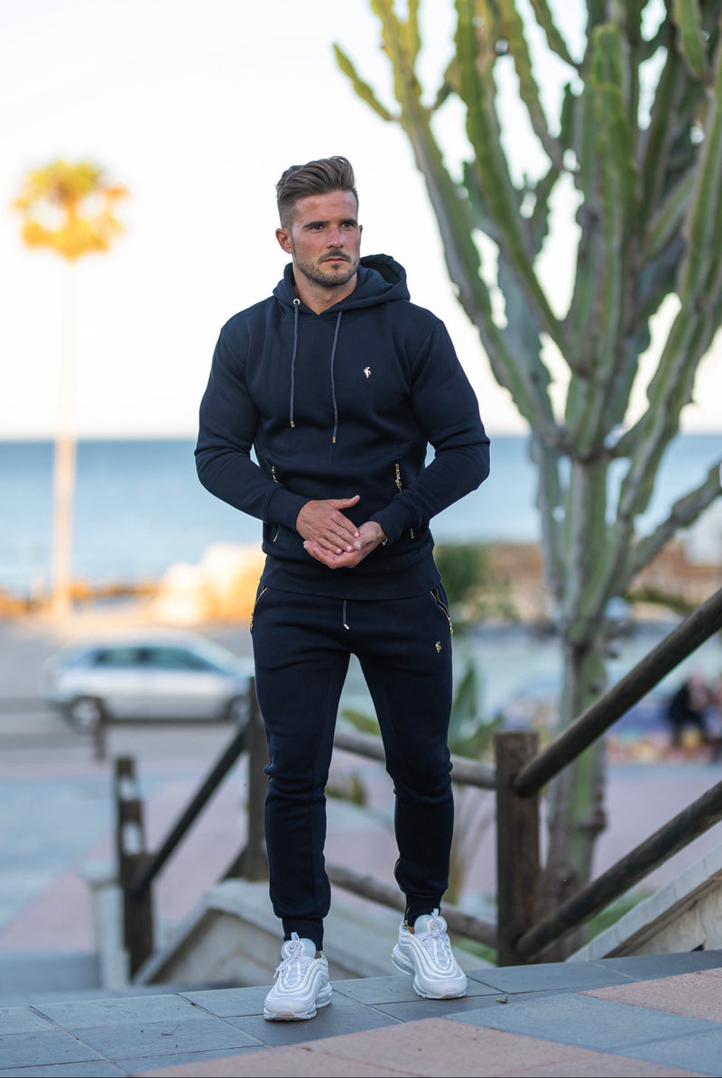 Father Sons Navy & Gold Overhead Hoodie Top with Zipped Pockets - FSH475