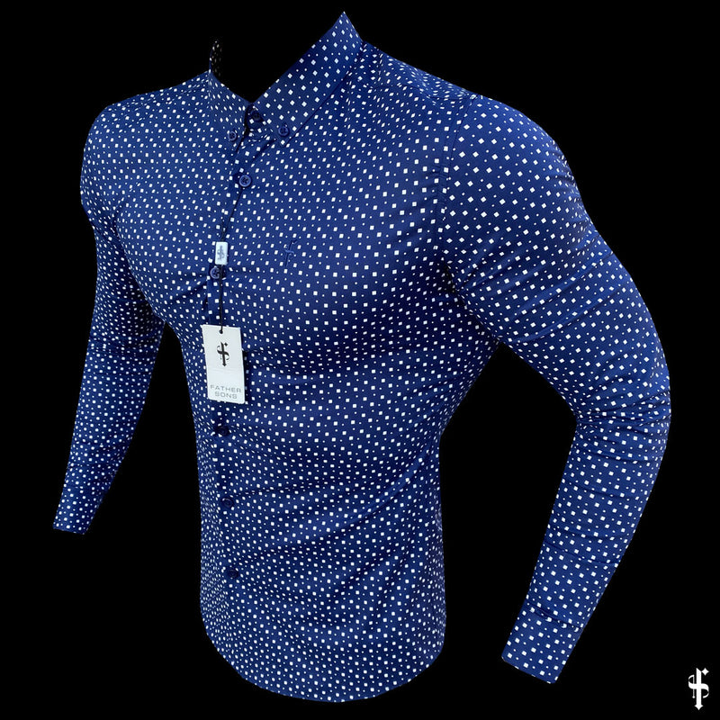 Father Sons Super Slim Stretch Blue & White Multi Square Print Long Sleeve - FS667