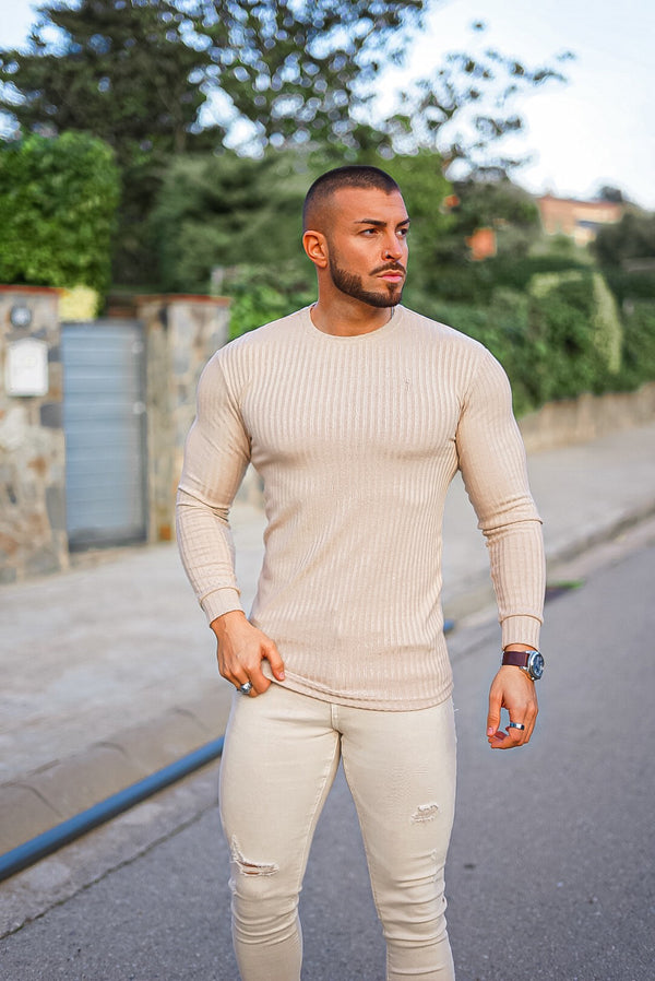 Father Sons Classic Beige Long Sleeve Ribbed Knit Super Slim Crew - FSH293