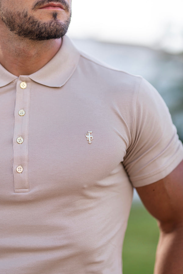 Father Sons Classic Beige Polo Shirt with Gold Metal Emblem Decal & Buttons - FSH457 (PRE ORDER > 6TH JUNE)