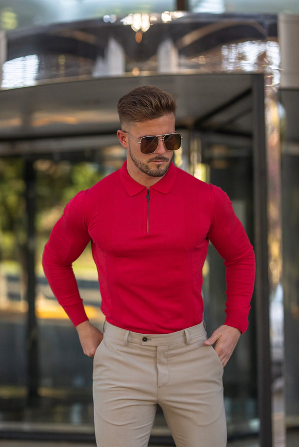 Father Sons Classic Poppy Red and Black Zip Knitted Long Sleeve Polo Shirt - FSH567