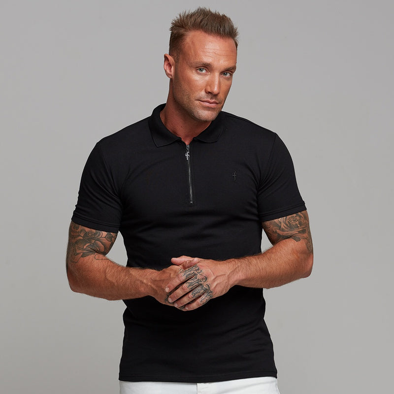 Father Sons Classic All Black Zipped Polo Shirt - FSH238