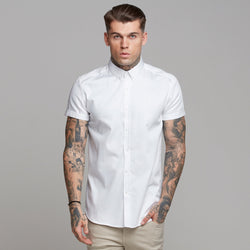 Father Sons Classic White Luxe Egyptian Cotton Button Down Short Sleeve - FS494
