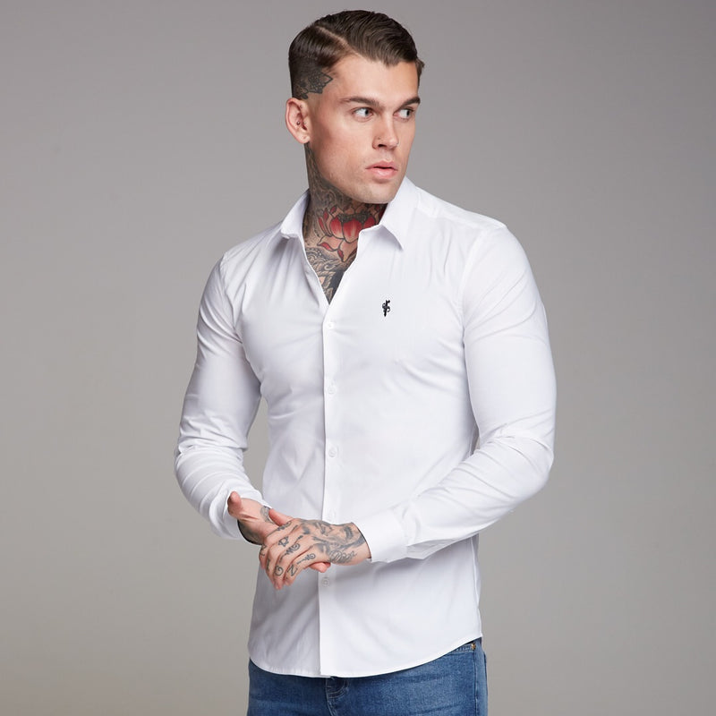 Father Sons Super Slim Stretch Classic White Shirt (Black Embroidery) - FS516