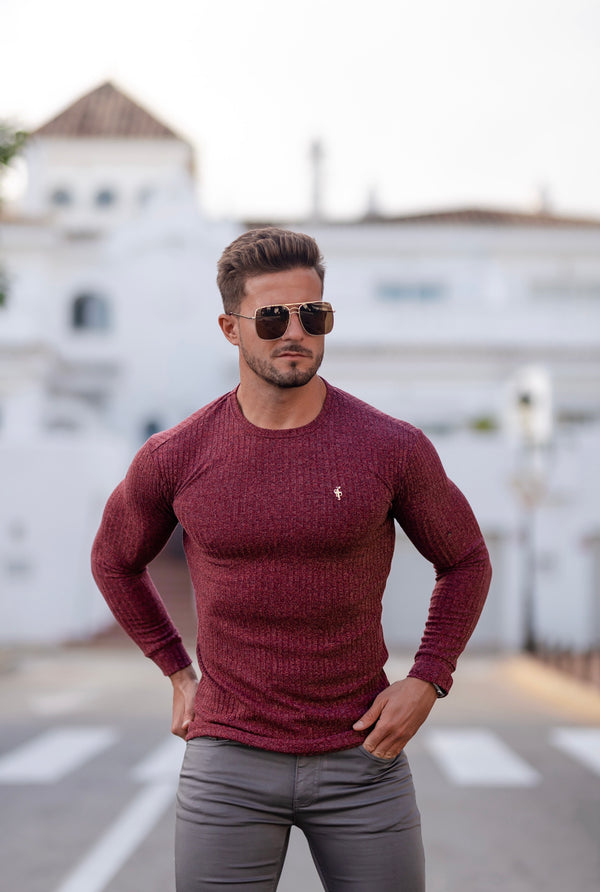 Father Sons Classic Claret Ribbed Knit Jumper With Gold Metal Emblem - FSH538 (PRE ORDER 21ST DECEMBER)