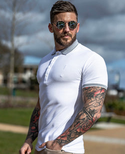 Father Sons Classic White Honeycomb Textured Polo Shirt with Contrast Collar Short Sleeve  - FSH422